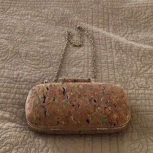 INC cork tiny clutch bag with chain strap